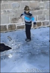 This boy who should have thought about thin ice.