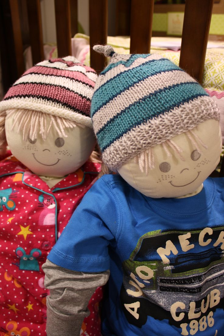 Simple striped beanies are quick to knit and there are lots of fun colours to choose from.