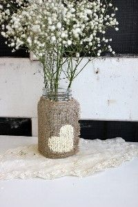 Rustic burlap wedding centerpiece.  See more wedding inspiration at http://www.zazzle.com/jaclinart/gifts?cg=196610973431617923?rf=238387211962446835=zBookmarklet=pindiana01 #wedding #rustic #centerpiece
