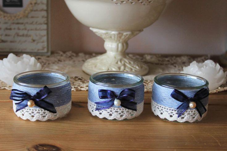 Photophores romantiques - fil de coton et dentelle - shabby ou comment recycler des pots de yaourt en verre Luminaires par charmy-co
