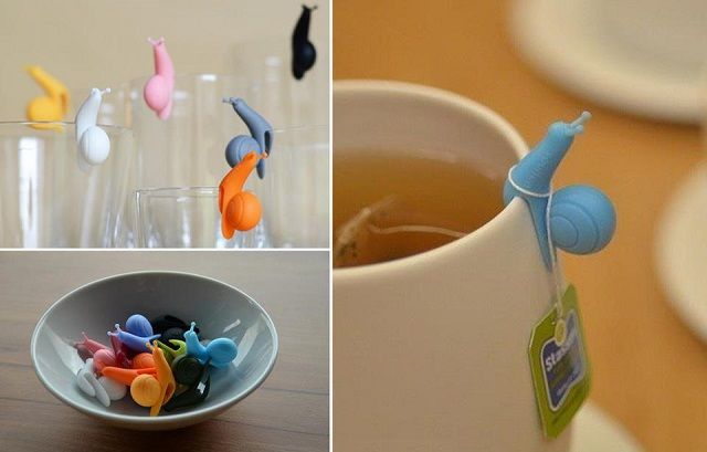 Party Snails Teabag Holders. Could also be used to identify everyones drinks at a get together.