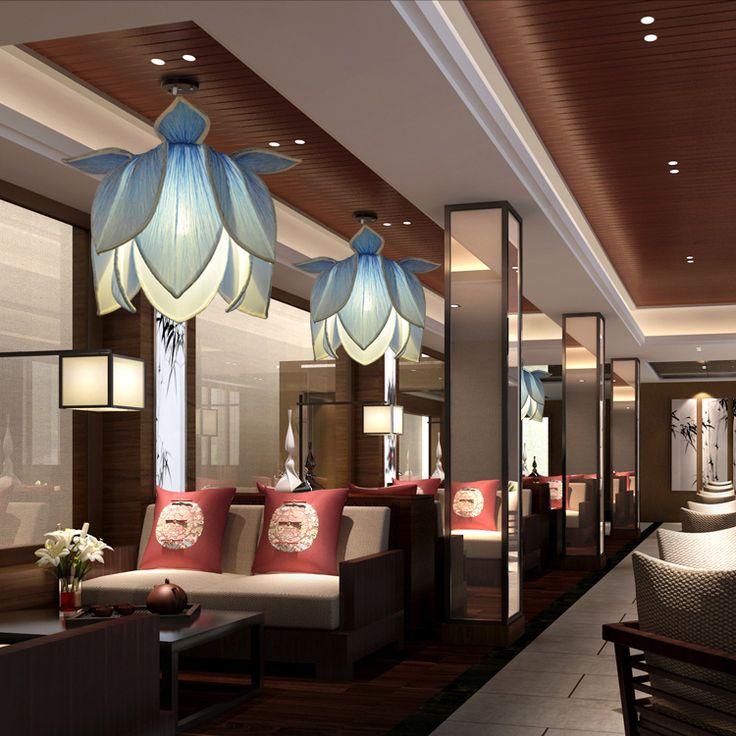 moderne pendentif lampe fleur de lotus classique chinois style vintage pendentif lumire led clairage luminaires chambre