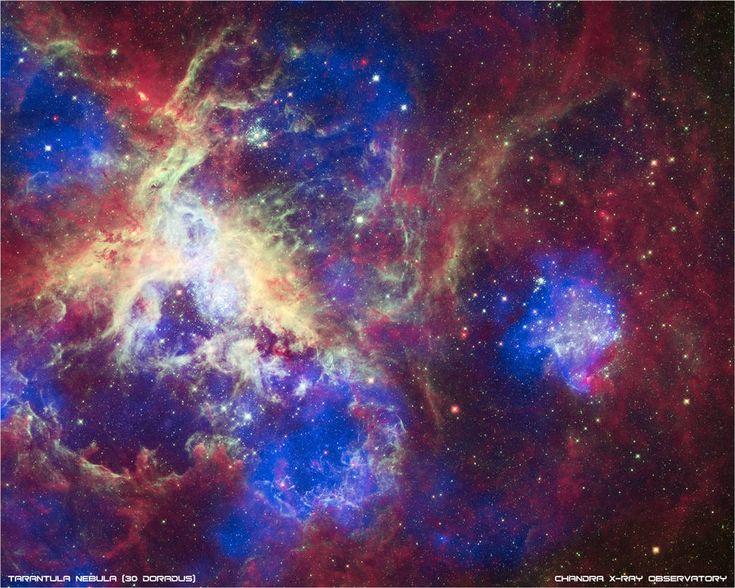 A New View of the Tarantula Nebula Image Credits: X-ray: NASA/CXC/PSU/L.Townsley et al.; Optical: NASA/STScI; Infrared: NASA/JPL/PSU/L.Townsley et al.