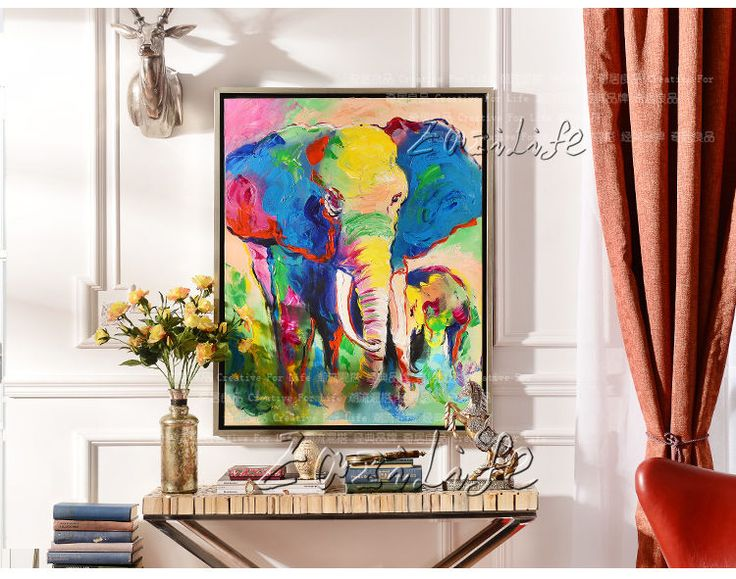 elephant hand paint oil painting morden abstract wall pop art painting on canvas popart