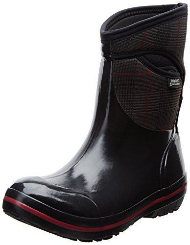 Bogs Women's Plimsoll Prince Of Wales Mid Waterproof Insulated Boot, Black -- Find out more about the great product at the image link.