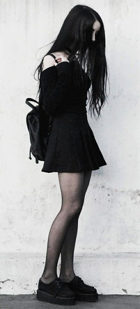 Choker necklace with black off-the-shoulder top, skirt, tights & brothel creepers by jenn_fti - #fashion #grunge #alternative