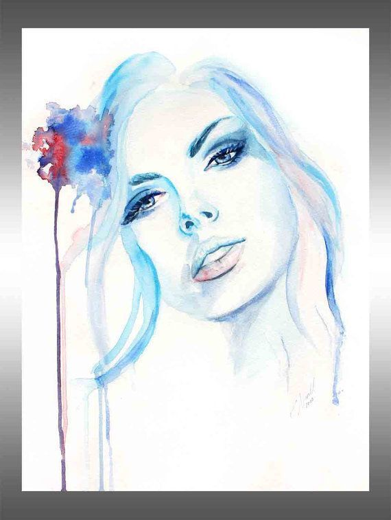 10 Sale Original Aquarell Gemalde Frau Portrait Von Kuroarts