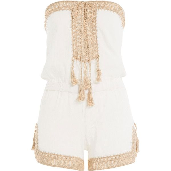 Anna Kosturova Helena Cotton Playsuit found on Polyvore featuring jumpsuits, rompers, dresses, playsuits, one pieces, beige, white jumpsuit, bandeau jumpsuit, anna kosturova and jump suit