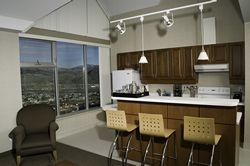 One of our eight Loft Suites located in the TRU Residence and Conference Centre. Bookable year round with stunning views of the city of Kamloops.