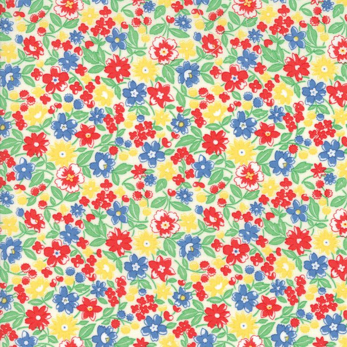 """""""Multi""""-Floral Kids Bloomin Bouquet Green 30's Playtime 2017 by Chloe's Closet for Moda"""
