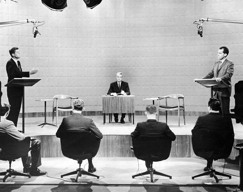 Sen. John F. Kennedy, left, and Vice President Richard Nixon made history by appearing in the first televised president debate, which took place on Sept. 26, 1960 at the WBBM studio in Chicago.
