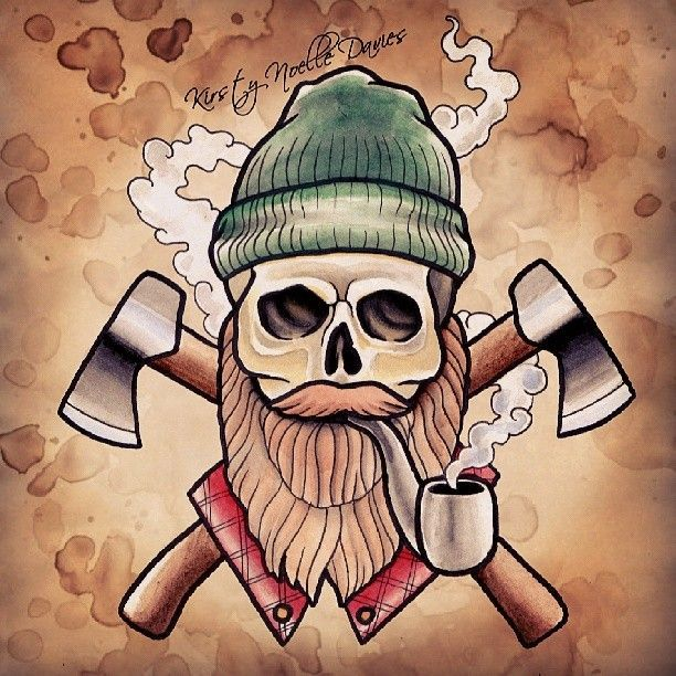 """Lumberjack skull scanned #tattooed #tattdesign #tattooflash #tattooartis …  – Verschiedene Tattoo-Ideen"