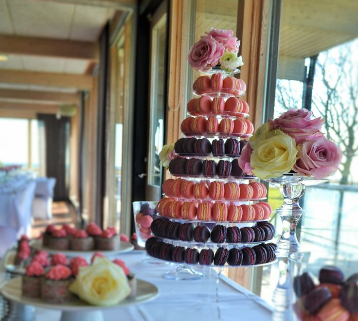 Macarons wedding Tower as a gluten free alternative to a wedding cake.  in Ljunghusen Sweden!