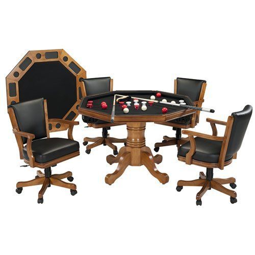 Harvil 3-in-1 Light Oak Bumper Pool - Table Top - Poker Table with 4 Chairs by Harvil. $1.50. The Harvil 3-in-1 Light Oak Poker Table and Chair Set adds a touch of class to any home game room! This multi-game table can easily switch from a standard dining table to a poker table or bumper pool table in minutes! Constructed of a North American hardwood top and hardwood base, the Harvil 3-in-1 will last for years to come. The table includes 4 rolling chairs constructed of extremel...
