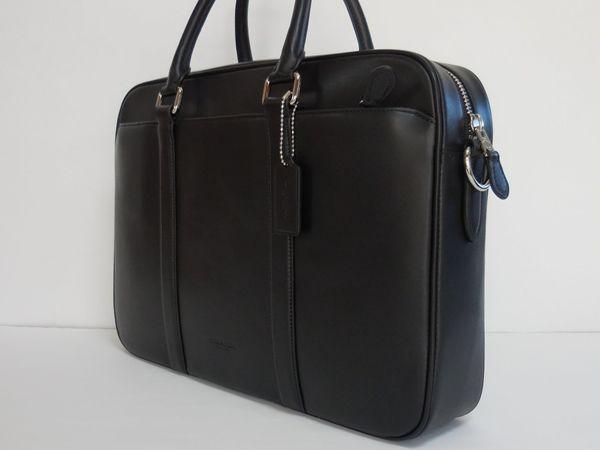 コーチ メンズバッグ アウトレット F54760BLK ペリー カーフレザー スリム ブリーフケース ビジネスバッグ 黒