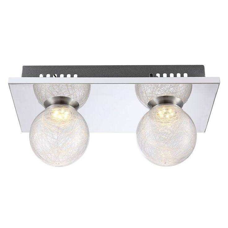 EEK A+, LED-Wandleuchte Sakeka - Glas / Metall - 2, Globo Lighting