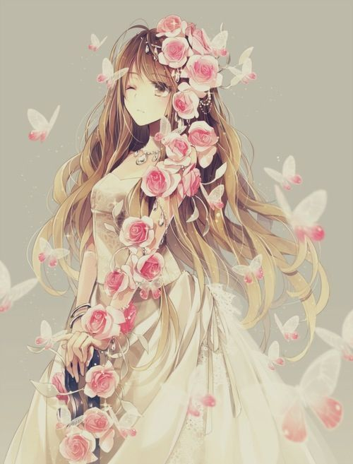 Anime Girl covered with Pink Roses and surrounded by Butterflies Art.