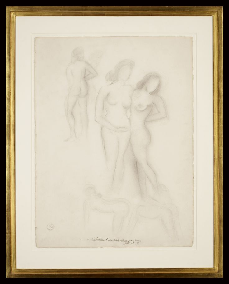 Salvador Dali | Three Graces | 75 x 57 cm | circa 1957 | Original Drawing | Salvador Dali was the twentieth century's most famous surrealist artist.