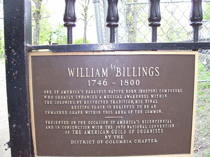 William Billings grave memorial, Central Burying Ground on Boston Common