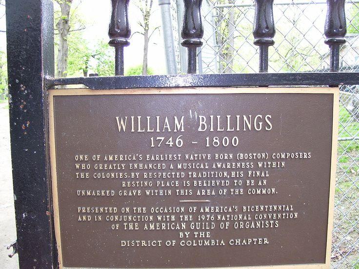 William Billings grave memorial, Central Burying Ground on Boston Common