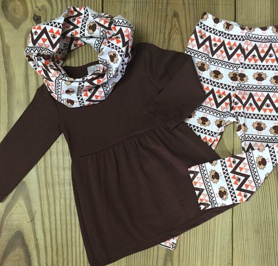 Our baby girl 3 pc Aztec turkey scarf boutique outfit is super trendy and sure to become her favorite new outfit! This girl's outfit is on sale at the lowest possible price! Get yours now! This girl's