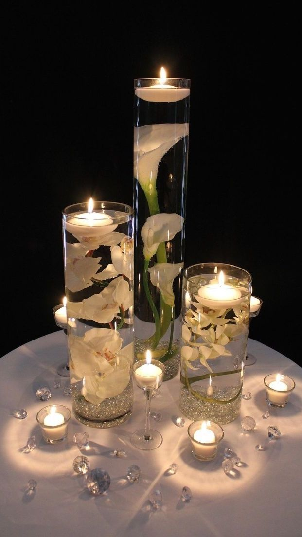 romantic candlelight centerpiece | Romántico candelabro central