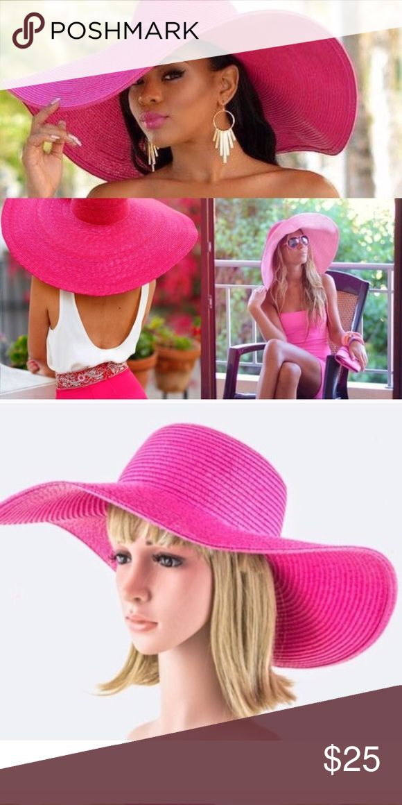 🆕JUST IN! HOT PINK FLOPPY WOVEN SUMMER HAT Head circumference: about 56cm to 58cm /22.5-inch. Brim width: about 15cm /6-inch; Brim height: about 10cm /4-inch. Great for women and girls to wear on those sunny days and will always keep them in style. Wide, floppy brim design makes you completely under covered from the sun. Folding, packable and flexible design, for convenient to carry. Amazing summer color! WILA Accessories Hats
