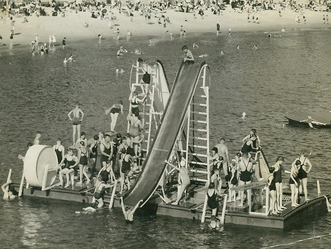 A floating pontoon in the Manly Harbour Pool
