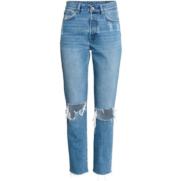 Vintage High Cropped Jeans $39.99 ($40) ❤ liked on Polyvore featuring jeans, high-waisted jeans, high rise jeans, blue jeans, ripped denim jeans and destroyed jeans