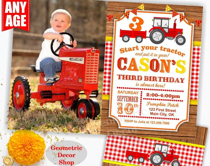 Tractor Birthday Invite, Tractor Invitation, Tractor Birthday Invitations, Tractor Invites, Woodland, Digital File, Red Plaid Boy Girl BDT17