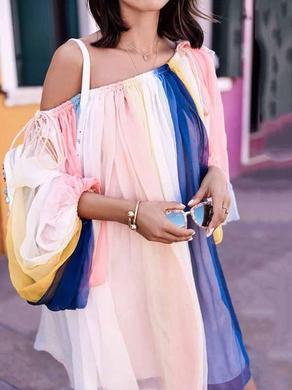 a6ae2a5070 Striped Off-the-shoulder Puff Sleeves Mini Dress in 2019 | My style ...