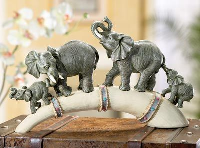 Elephant Parade And Horn Sculpture Home Decor