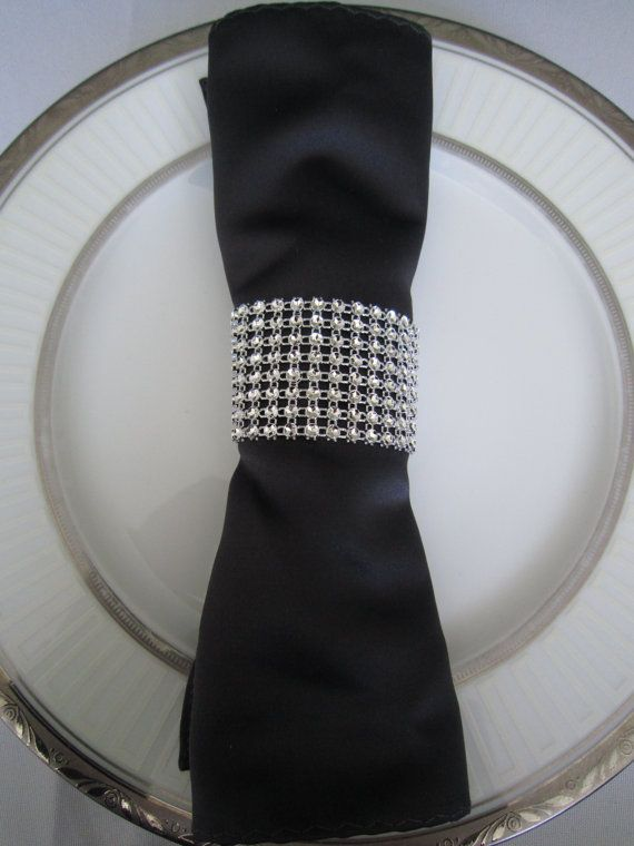 Rhinestone Napkin Rings - 1 pc. / Perfect Decor for Weddings Events and Holidays on Etsy, $0.99