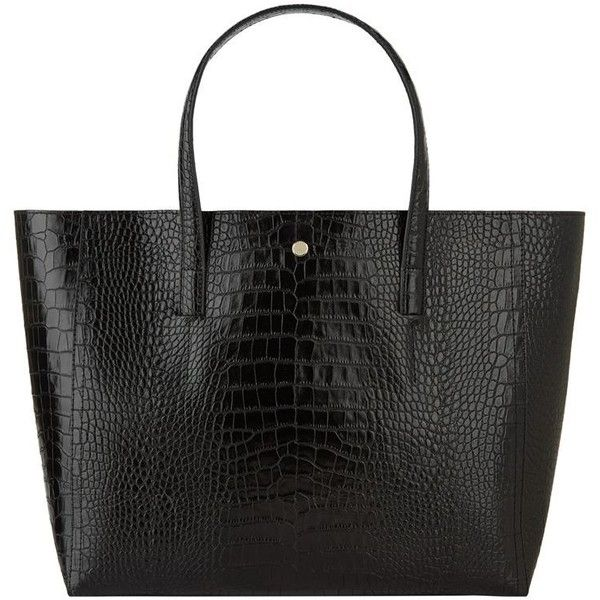 Reiss Louie Crocodile Embossed Tote Bag (278,580 KRW) ❤ liked on Polyvore featuring bags, handbags, tote bags, handbags tote bags, crocodile purse, croco handbag, tote purses and tote bag purse