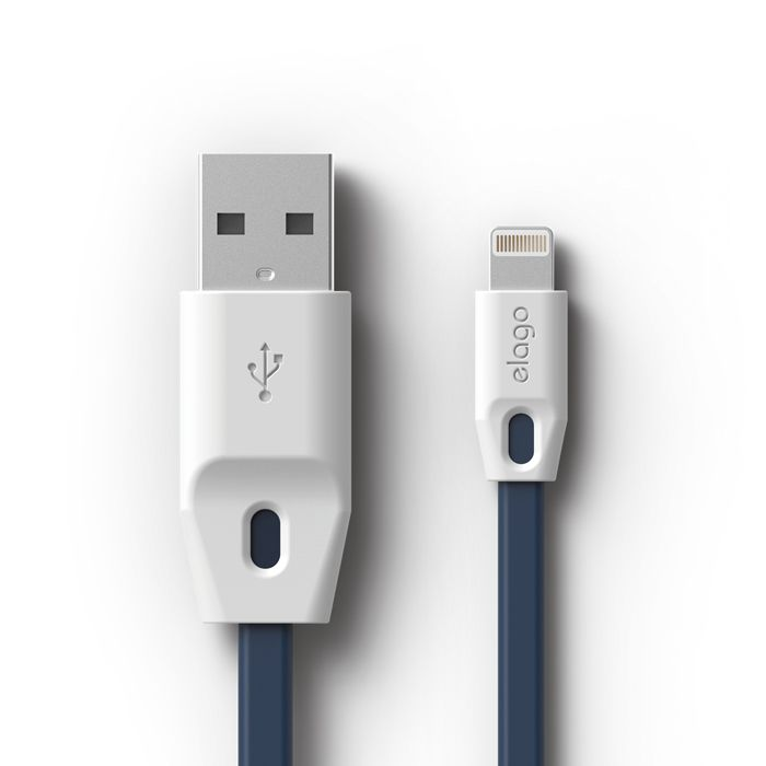 Tangle-free USB Cable for Apple Device / White+Jean Indigo
