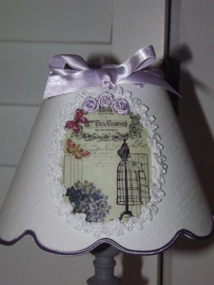 Abat-jour festonné, en lin blanc, appliqué rétro, bordure de fleurs : Luminaires par patines-lin-et-coton