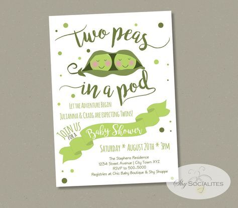"This listing is for a DIY digital file that you edit and print (or see our printing services and let us print them for you.) Change the details yourself in Adobe Reader with this INSTANT DOWNLOAD!    *NOTE: Only the wording below ""Two Peas in a Pod & Baby Shower"" can be edited in the template.  What you get 5×7 Printable Invitation (Format: Editable Text PDF)  Formatted to print on 8.5 x 11″ paper, 2 invitations per page How to Edit After purchasing this listing you will receive a l..."