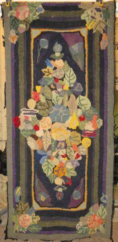 Antique 1800s Handmade Hooked Foyer Rug Great Colors Recent Estate Find | eBay