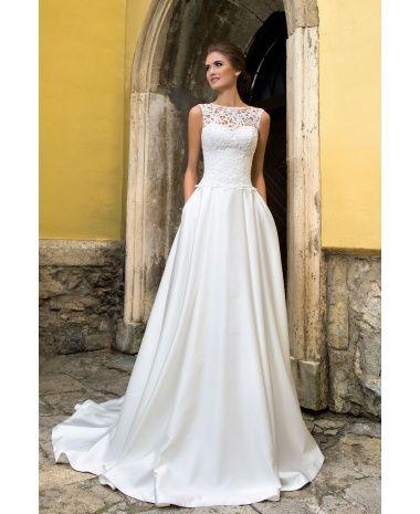 SHANNON - luxusné dlhé svadobné šaty s krajkovým zvrškomna ramienka a saténovou sukňou