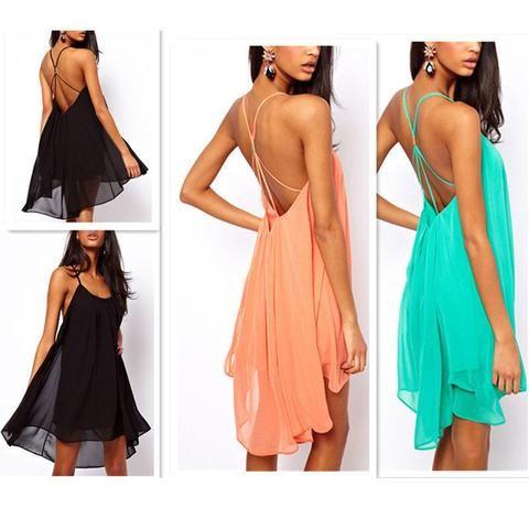 Backless Sling Chiffon Dress - Medium