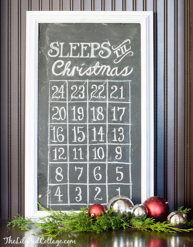 Chalkboard Christmas Countdown Board - The Lilypad Cottage
