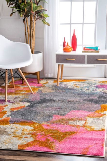 Rugs USA Pink Canouan Abstract Paisley Rug: Add a splash of color to your décor