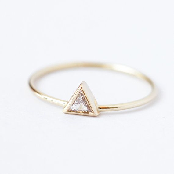 Diamant-Engagement Ring Dreieck-Diamant-Ring 011 von artemer