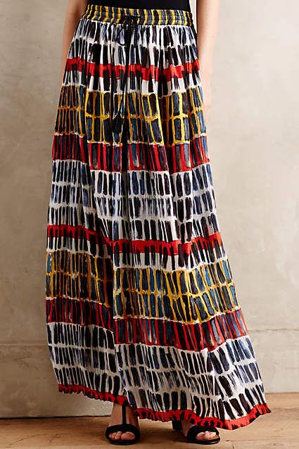 Brushed Rhythm Silk Maxi Skirt - anthropologie.com