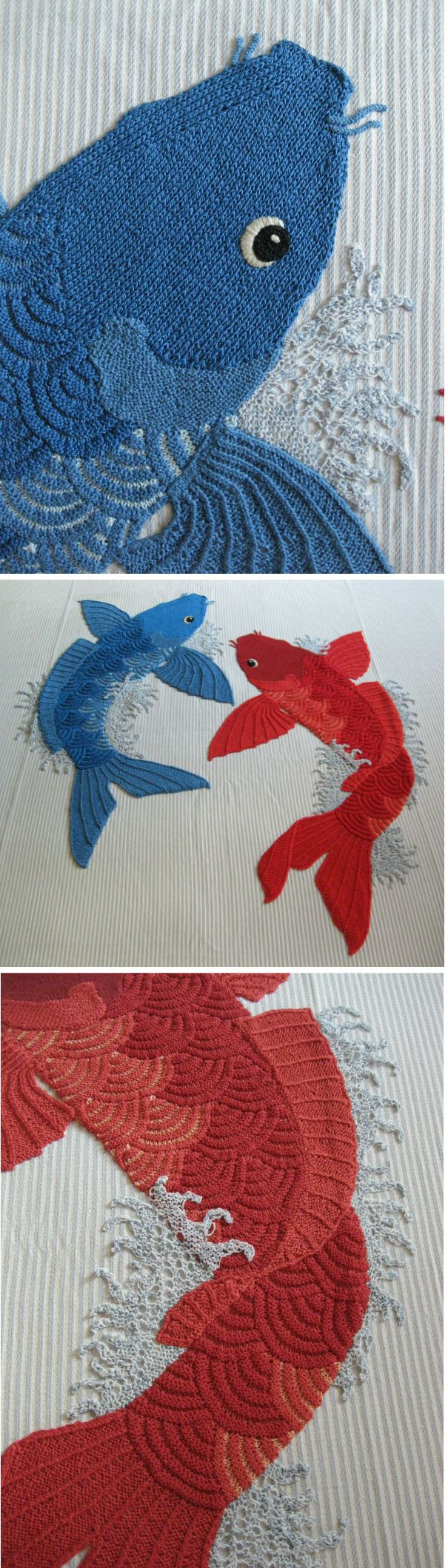 Copriletto #koi: ordito in lino, trama in cotone, #applicazione in #maglia su disegno originale dell'artista. Bedspread #koi: linen warp, cotton weft, #handknitted application, on original sketch by the artist.