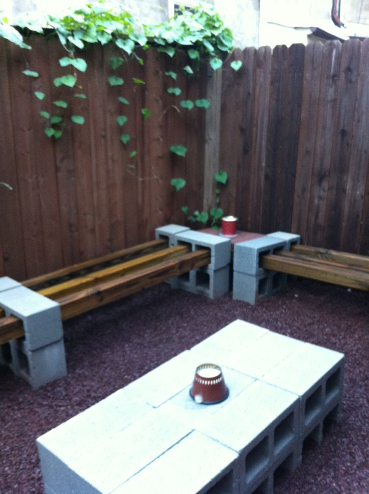 Eric 39 s smart pad backyards outdoor ideas and tables for Cinder block seating area