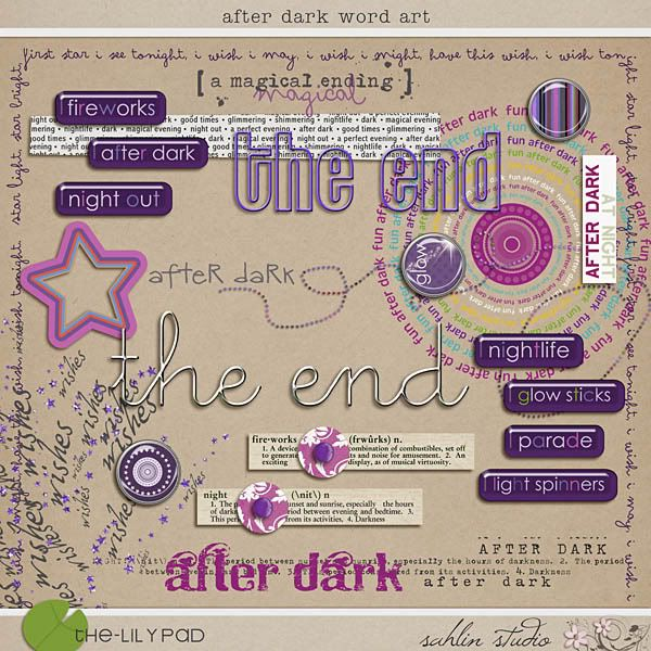 After Dark: Word Art Digital Scrapbooking Kit - Perfect for scrapbooking night time magical moments at Disney!!