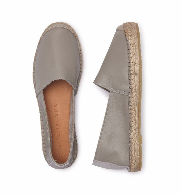 Selected Femme Sfmarley New Leather Grey Espadrilles\Available at atticwomenswear.com #SelectedFemme