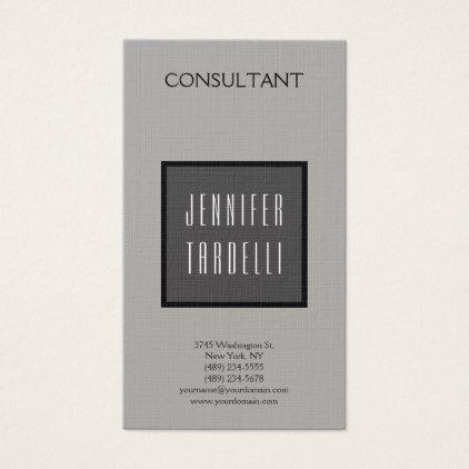 Linen Modern Professional Grey Background Elegant Business Card