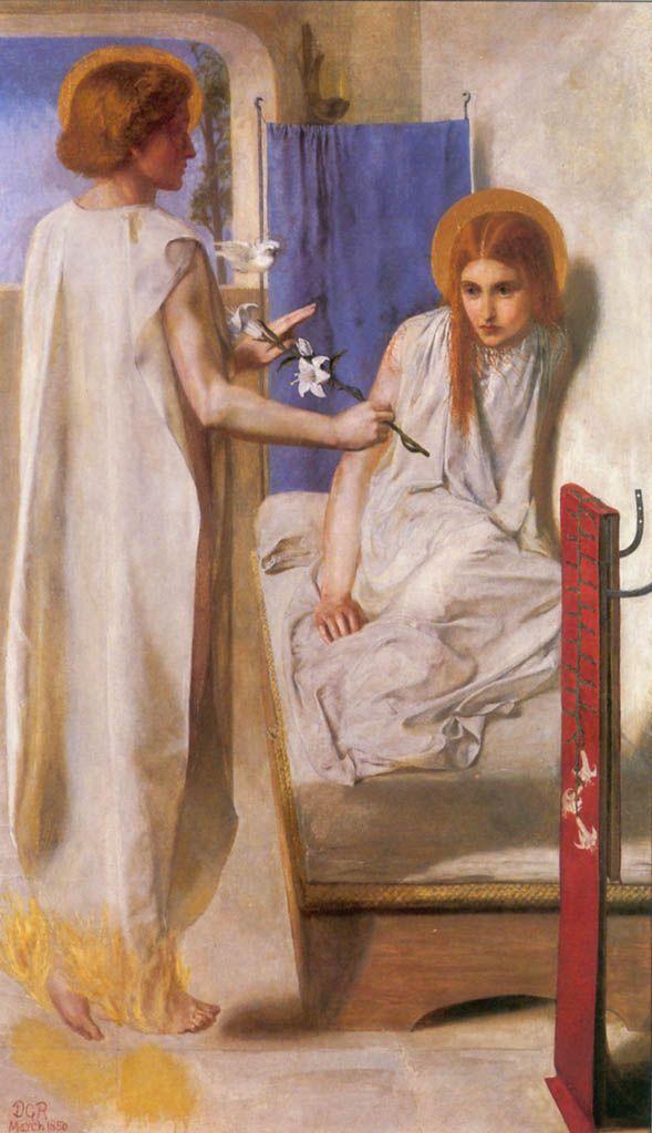 Dante Gabriel Rossetti (1828–1882). Ecce Ancilla Domini!, 1850. Óleo sobre lienzo. 73 × 41.9 cm, Tate Britain, Londres.